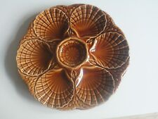 Vintage Majolica Faience Sarreguemines French Pottery Oyster Plate Platter