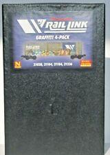 Micro Trains N Scale 4 Pack Weathered & Graffiti 50' Box Cars SSD Rib Side. MRL