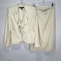 Ralph Lauren Woman's Suit sz 4 Skirt Blazer Ivory 100% Virgin Wool Wedding
