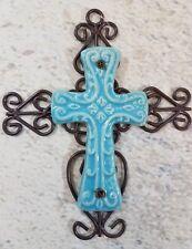 Cross Wall Hanging Decor Brown Metal Blue Ceramic Scroll Design