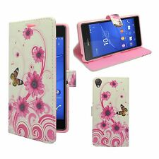 CASE FOR SONY XPERIA Z3 WHITE PINK SWIRL FLOWER BUTTERFLY PU LEATHER WALLET