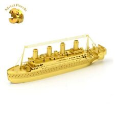 3D METAL MODEL KIT 🛳️ THE TITANIC🛳️ COMPLICATED PUZZLE JIGSAW ART GOLD VERSION