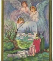 VINTAGE CHRISTMAS ANGELS PINK BLUE SHEEP BETHLEHEM GOLD SHEPHERDS GREETING CARD