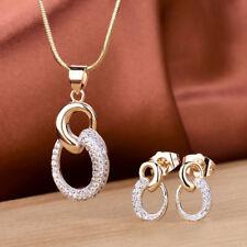 Women Swarovski Crystal Gold Stud Earrings Pendant Chain Necklace Jewellery Set