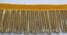 "Vintage Gold Metallic Bullion Fringe Coiled Strands 1 1/4"" Wide French"