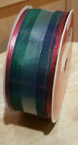 Holiday Time Blue/Green Plaid w/Red Trim Fabric Ribbon, 30 ft x 2 in