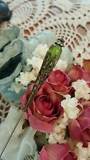 Victorian Hat Pin Vintage Inspired Peridot Green Bead Antique Brass Fittings