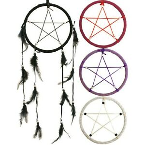 Pentagram Dream catcher Mobile Goth Occult Biker Gift Red Black White Purple