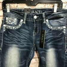 5a3e0a974c6 Grace in La Jeans 29 X 33 Boot Cut Embroidered Embellished JB 61171sl