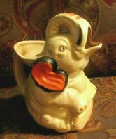 Estate Vintage, Unique > Elephant Figure Pottery PITCHER, Hand Painted