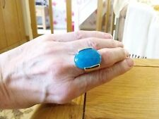 BRAND NEW SILVER RING WITH REAL BLUE GEM  STONE IN  SIZE K WITH GIFT BOX