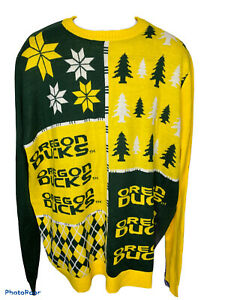 Forever Collectibles Men's XXL Oregon Ducks Sweater Baseball Yellow Printed NEW