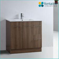 Bathroom Vanity 900 Timber Wood Grain Cabinet Modern Ceramic Top Floor Unit NEW