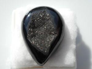 Druzy Agate Black cabochon Pear 33x25x9mm