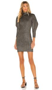 NWT A.L.C. Womens Samuel Puff Sleeve L/S Bodycon Dress Black Gold SZ XS $495