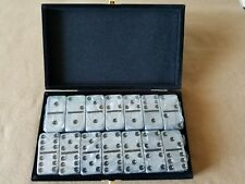 Domino Double Six Silver & Black Dominoes Tournament Size in Velvet Case