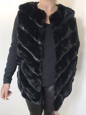 Gilet Black Faux Fur & Faux Leather Shaped Hem Soft Plus Size 14 16 18 NEW