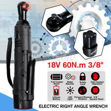 """18V 60N.m 260RPM 3/8"""" Cordless Electric Right Angle Ratchet Wrench Battery  w Q"""
