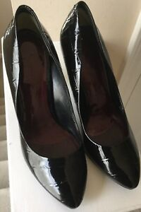 Jessica Simpson Women's Maura Patent Black Animal Print Pumps Heels Size 6B