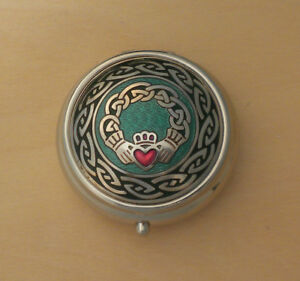 Small Celtic Claddagh Pill Box Made in England Teal & Green one compartment