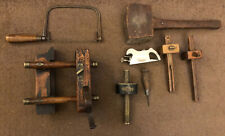 vintage old joiners tools Marking Gauge, Moulding Plane, Thumb Plane,saw,