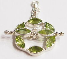 Tested Sterling Silver Marquis Peridot Gem Toggle Clasp for Necklace/Neck wire