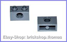 Lego Technic 2 x Stein Loch Technik - 3700 - Brick Dark Bluish Gray NEU / NEW