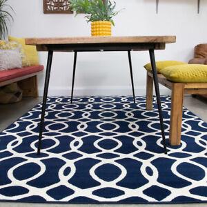Modern Navy Blue Geometric Rug Nautical Trellis Living Room Rugs Carpet Runner