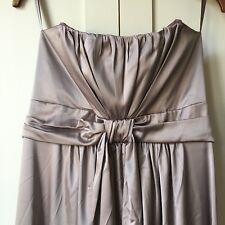 Debenhams Debut Size 16 Long Party Cruise Dress Strapless Grey Silky Evening