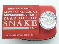 2013 Australia Lunar Snake High Relief $1 One Dollar Silver Proof Coin Box Coa