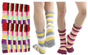 12 Pairs Assorted Cozy Striped Winter Warm Toe Socks Size 9-11 WOMENS GIRLS