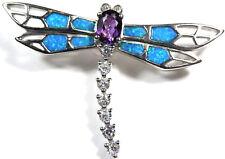 ametista & Blu Opale di fuoco intarsio argento sterling 925 ciondolo libellula