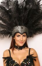 XL Black Ostrich Feather Sequin Headdress Showgirl Carnival Drag Costume