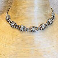 VTG Rhodium Crystal Rhinestone 1950s Necklace Choker Sparkly Elegant