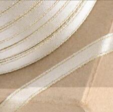 METALLIC GOLD SATIN LUREX RIBBON 6mm x 100 METERS FULL REEL CRAFT WEDDING XMAS
