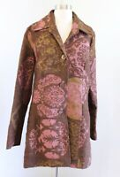 3 Sisters Three Sisters Brown Green Pink Floral Tapestry Jacket Car Coat Size XL