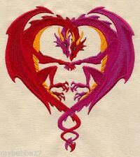 DRAGON LOVE PAIR SET OF 2 BATH HAND TOWELS EMBROIDERED BY LAURA
