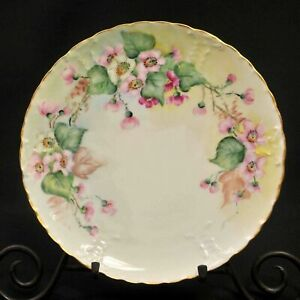 Haviland Plate Blank 208 Hand Painted Pink Roses Buds Green Vines Gold 1894-1931