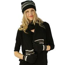Winter Girls Ladies Knit Stripe Scarf Beanie Hat Cap Gloves Ski 2pc Set Black