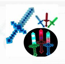 3 pcs Light-Up Pixel Swords Diamond Flashing LED Toy Sticks Glow Lot Espadas