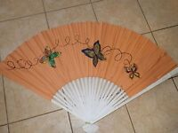 """Vintage Chinese Hand Painted Butterflies Cloth Fan Bamboo ORIENTAL 61"""" x 38"""""""