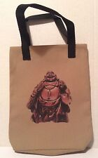 Laughing Buddha Tote Bag approx 8 x 10 inch lined black cotton material NEW