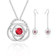 Elegant 925 Sterling Silver SF Flora Red CZ Solid Necklace/Earrings Set SA475