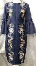 Ted Baker 'Jeeane' Stardust Flute Sleeve Dress Dark Blue/Gold Size 2 UK 10 New