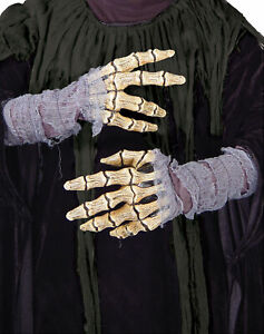 ADULT SKELETON BONES GAUZE HANDS GLOVES COSTUME DRESS ACCESSORY MR156026