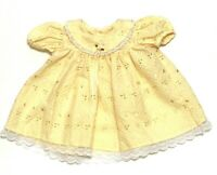Vintage Rose Cottage Baby Infant Girl 6-9 Yellow Embroidered Eyelet Lace Dress
