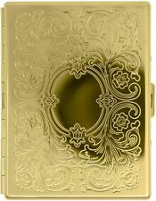 Gold Victorian Print Compact (9 Kings) Metal-Plated Cigarette Case & Stash Box