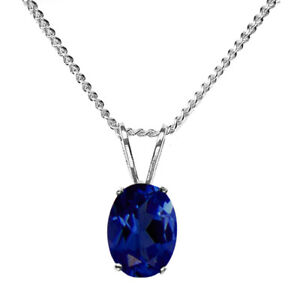 8x6mm OVAL LAB CREATED BLUE SAPPHIRE 925 STERLING SILVER PENDANT CHAIN NECKLACE