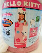 """Hello Kitty Throw Blanket Wrap And Hat Set 40 X 50"""" Hoodiwinks Wear It Or Wrap"""
