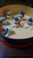 Vintage  Hard Plastic Snowman Ornaments Qty 7